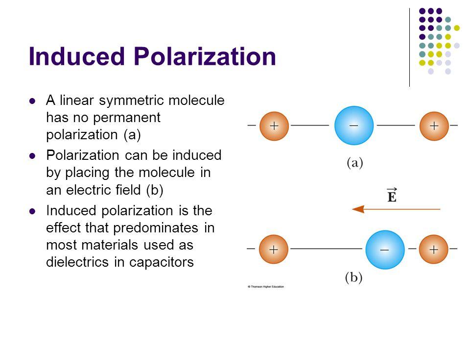 Induced Polarization A linear symmetric molecule has no permanent polarization (a)