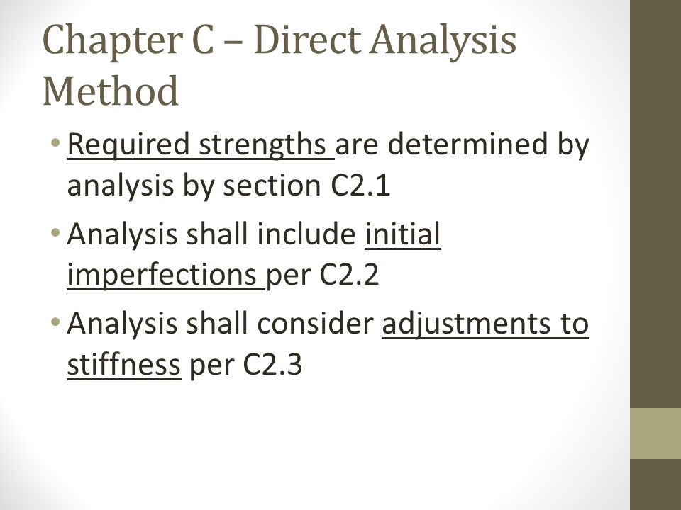 Chapter C – Direct Analysis Method