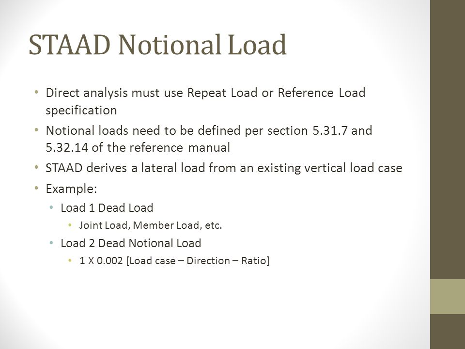 STAAD Notional Load Direct analysis must use Repeat Load or Reference Load specification.