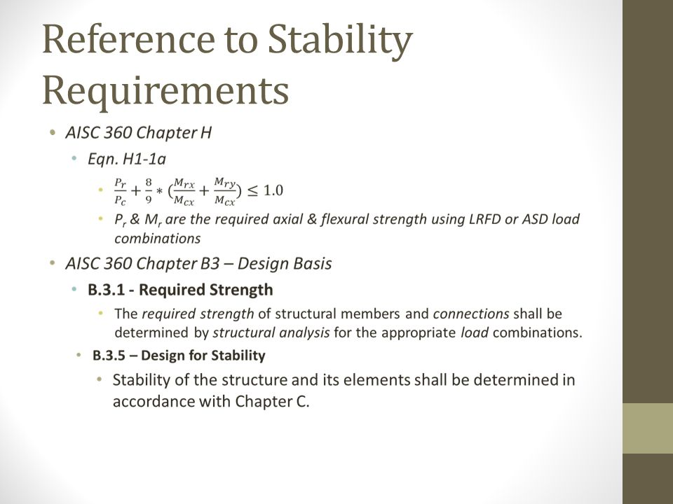Reference to Stability Requirements