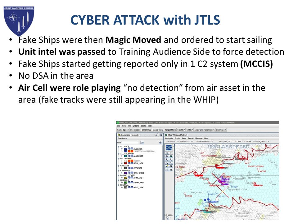 CYBER ATTACK with JTLS Fake Ships were then Magic Moved and ordered to start sailing.
