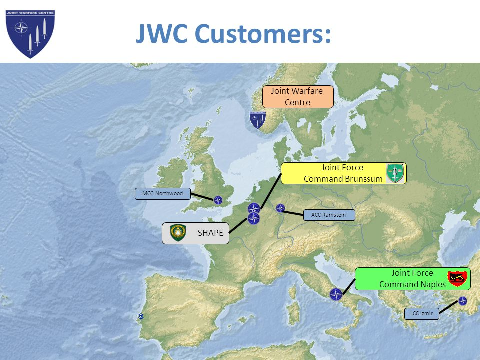 JWC Customers: Joint Warfare. Centre. Joint Force. Command Brunssum. MCC Northwood. ACC Ramstein.