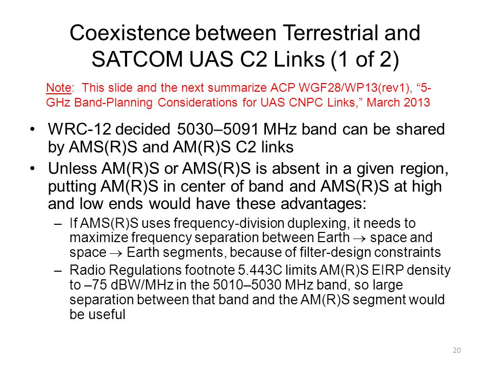 Coexistence between Terrestrial and SATCOM UAS C2 Links (1 of 2)