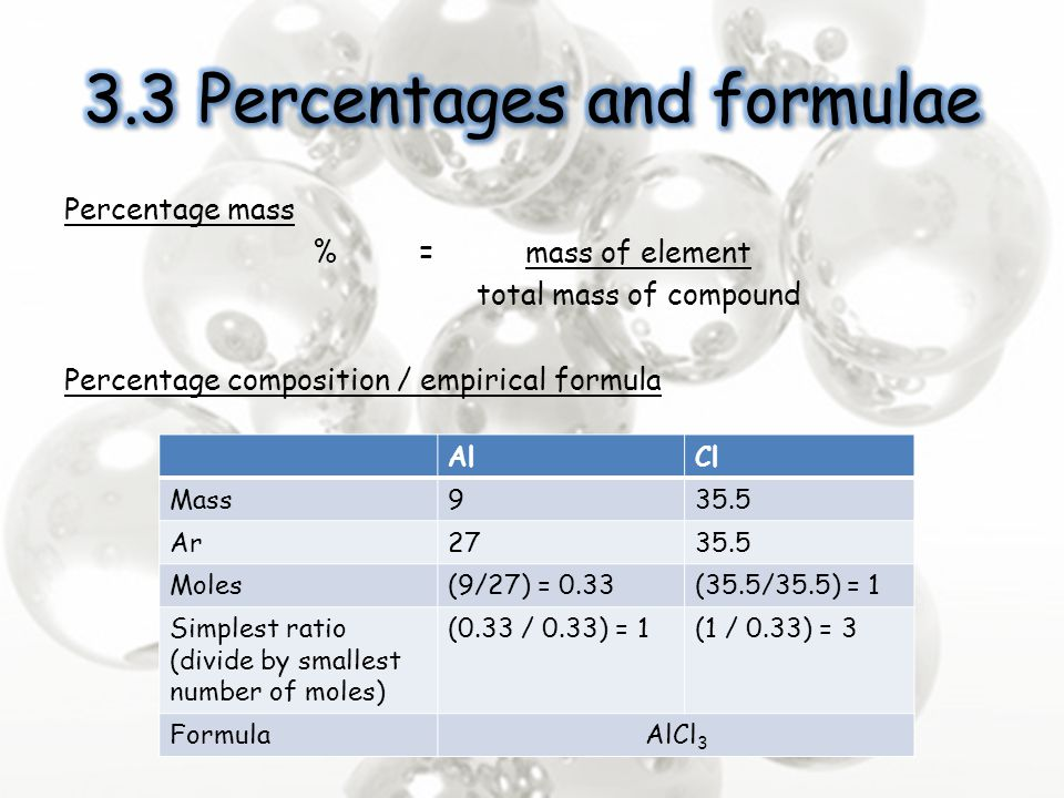 3.3 Percentages and formulae