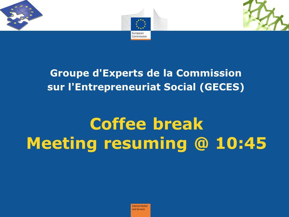 Coffee break Meeting resuming @ 10:45