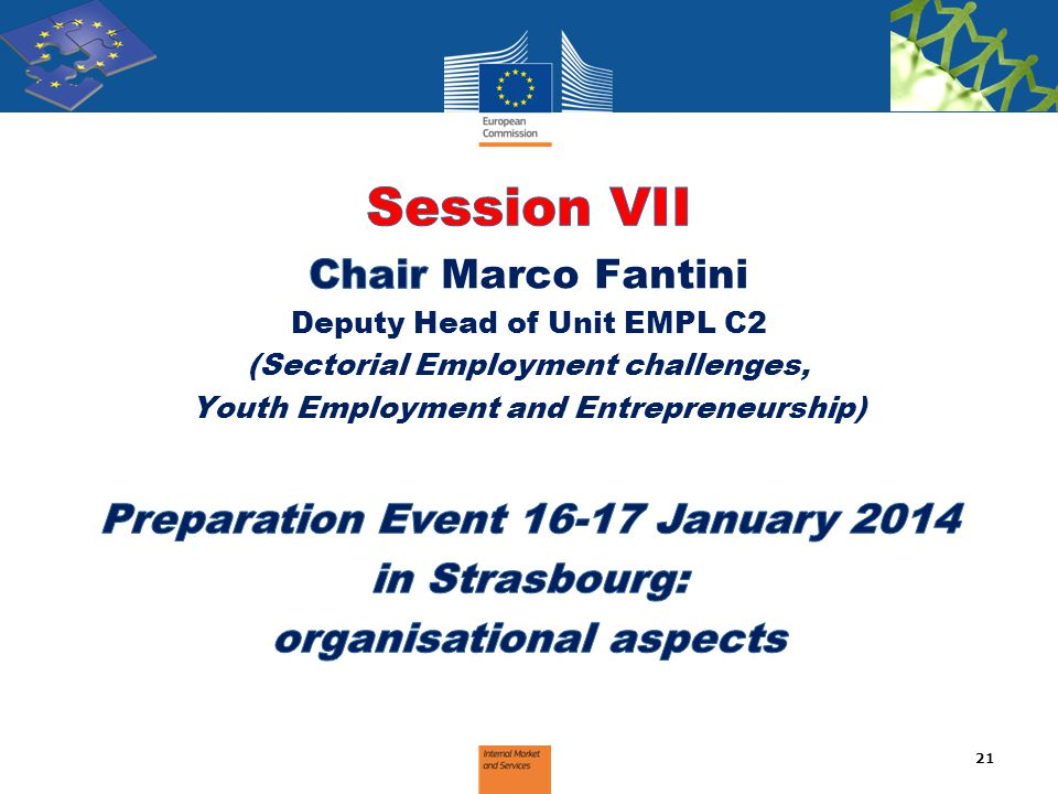 Session VII Chair Marco Fantini Preparation Event 16-17 January 2014