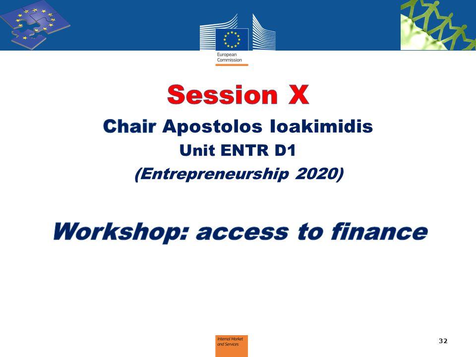 Chair Apostolos Ioakimidis Workshop: access to finance