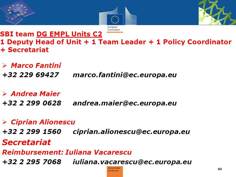 SBI team DG EMPL Units C2 1 Deputy Head of Unit + 1 Team Leader + 1 Policy Coordinator + Secretariat