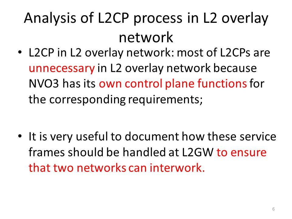 Analysis of L2CP process in L2 overlay network