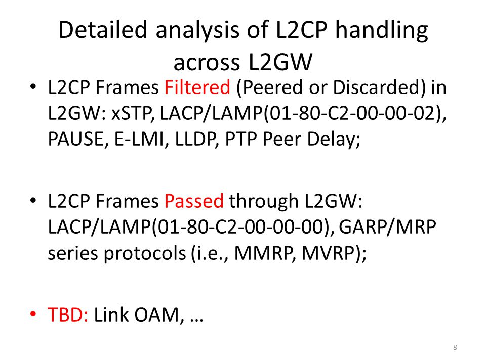 Detailed analysis of L2CP handling across L2GW