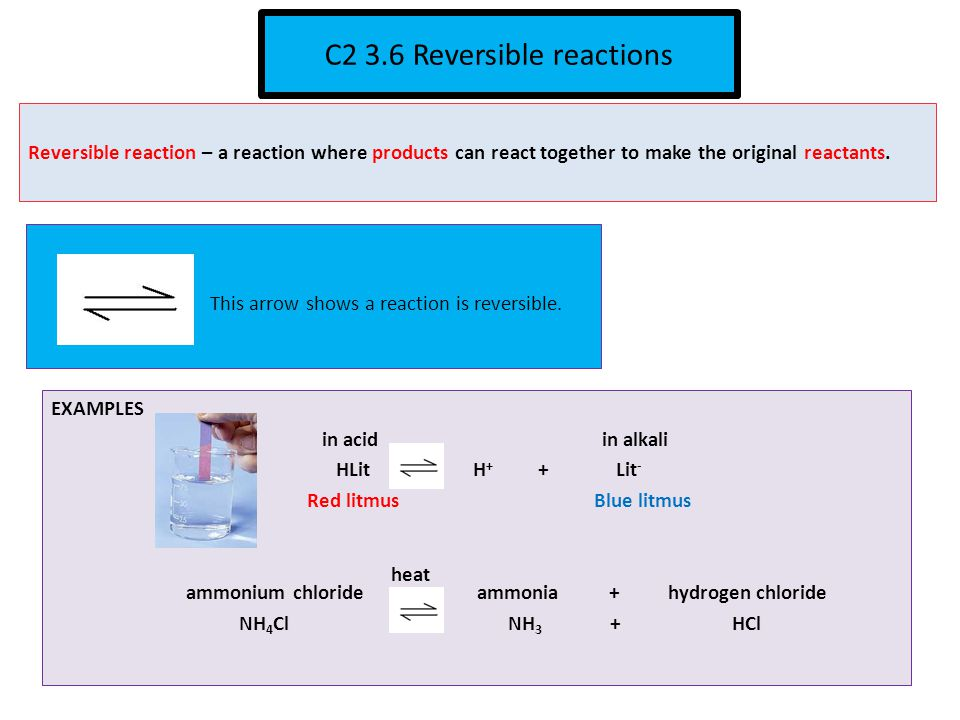 C2 3.6 Reversible reactions