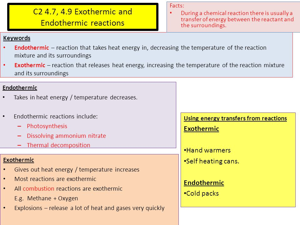 C2 4.7, 4.9 Exothermic and Endothermic reactions