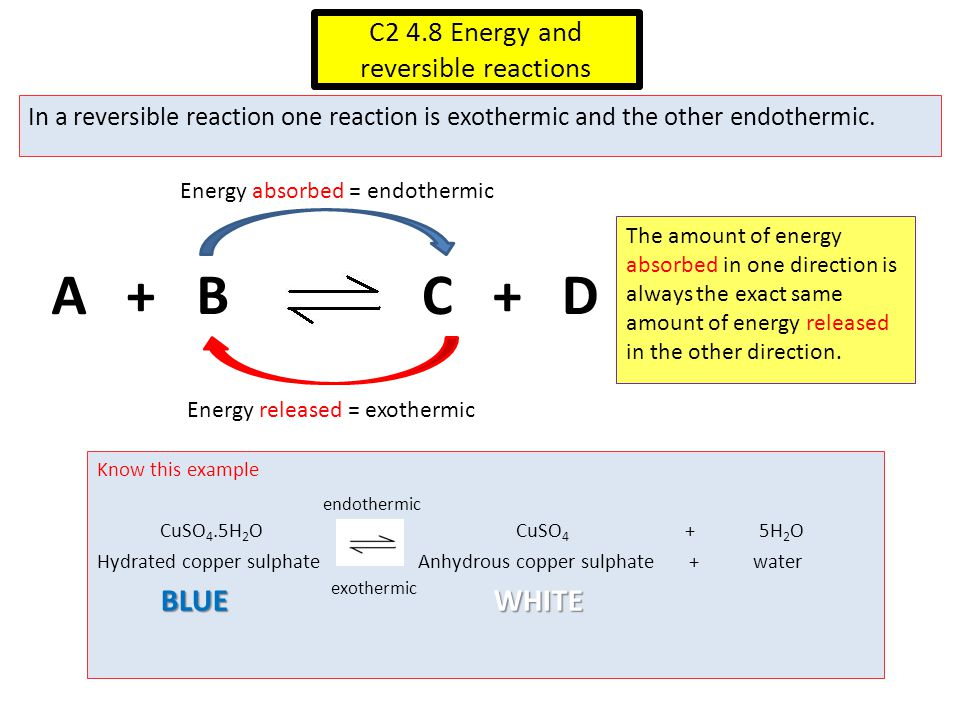 C2 4.8 Energy and reversible reactions