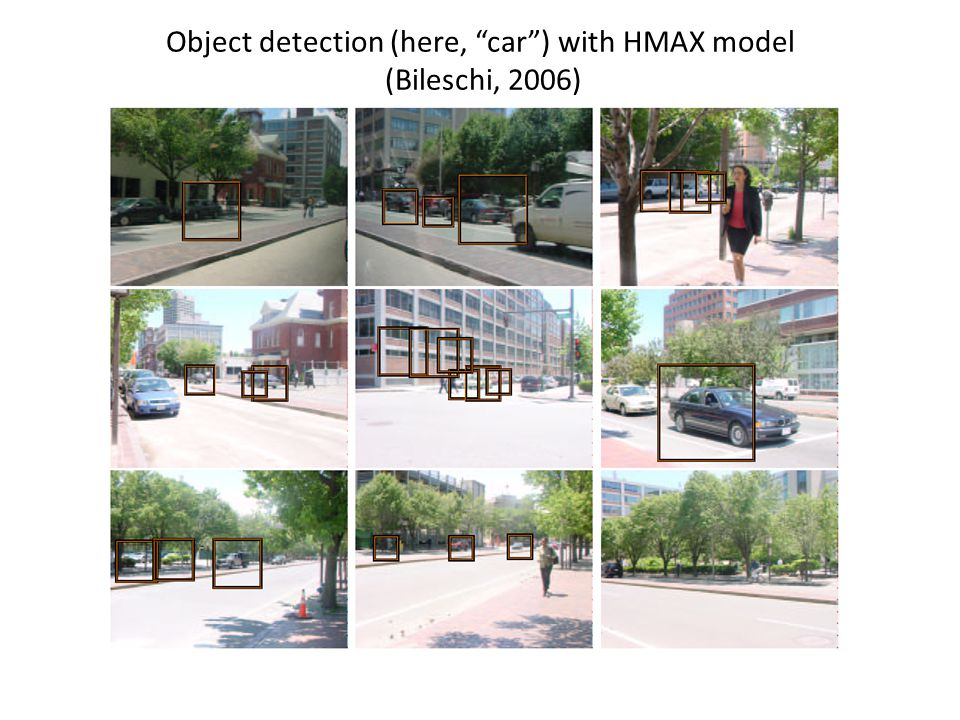 Object detection (here, car ) with HMAX model (Bileschi, 2006)