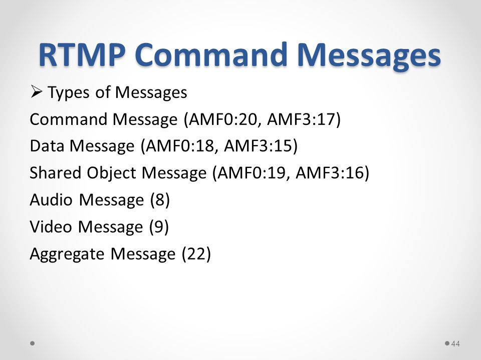 RTMP Command Messages Types of Messages