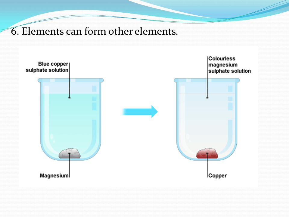6. Elements can form other elements.