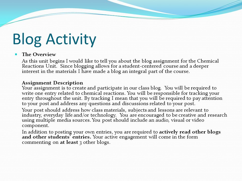 Blog Activity The Overview