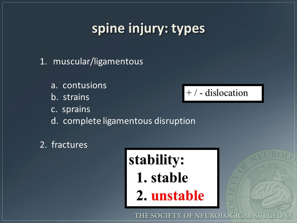 spine injury: types stability: 1. stable 2. unstable