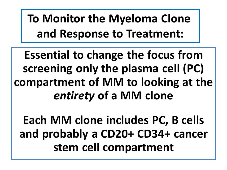 To Monitor the Myeloma Clone and Response to Treatment: