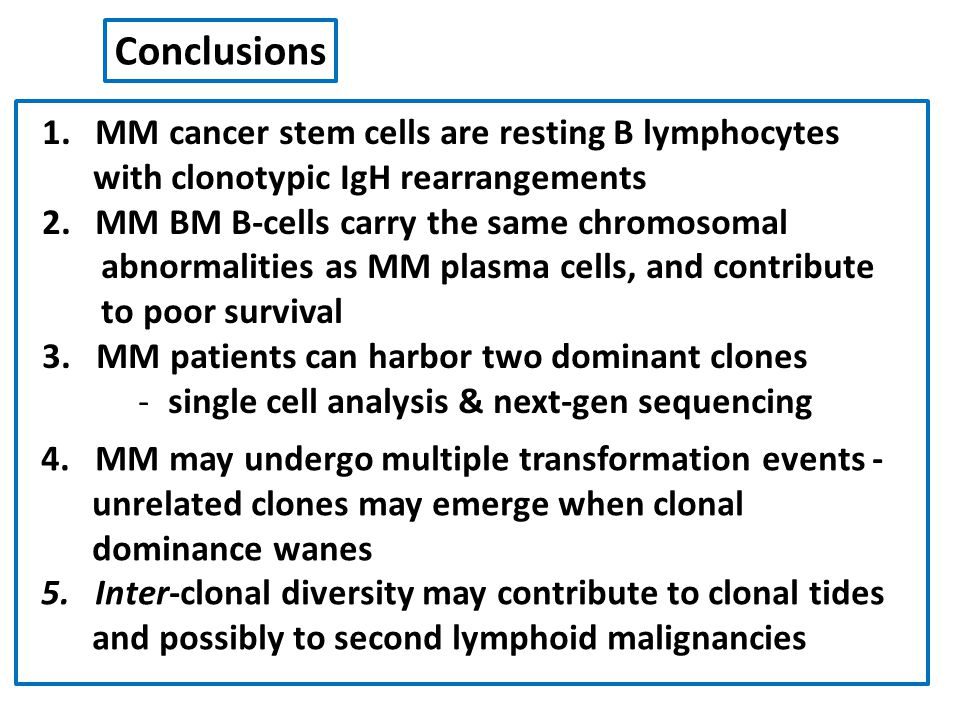 Conclusions MM cancer stem cells are resting B lymphocytes