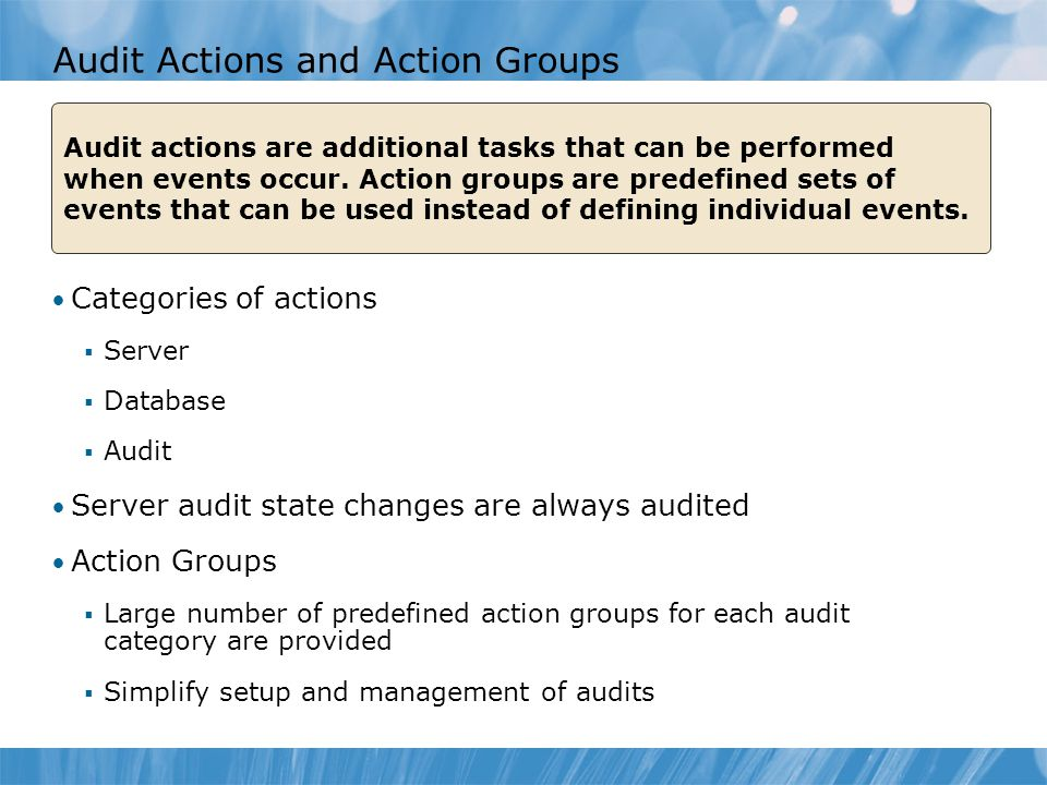 Audit Actions and Action Groups