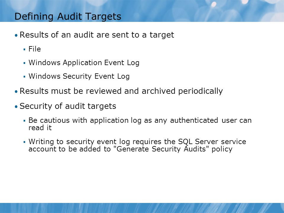 Defining Audit Targets