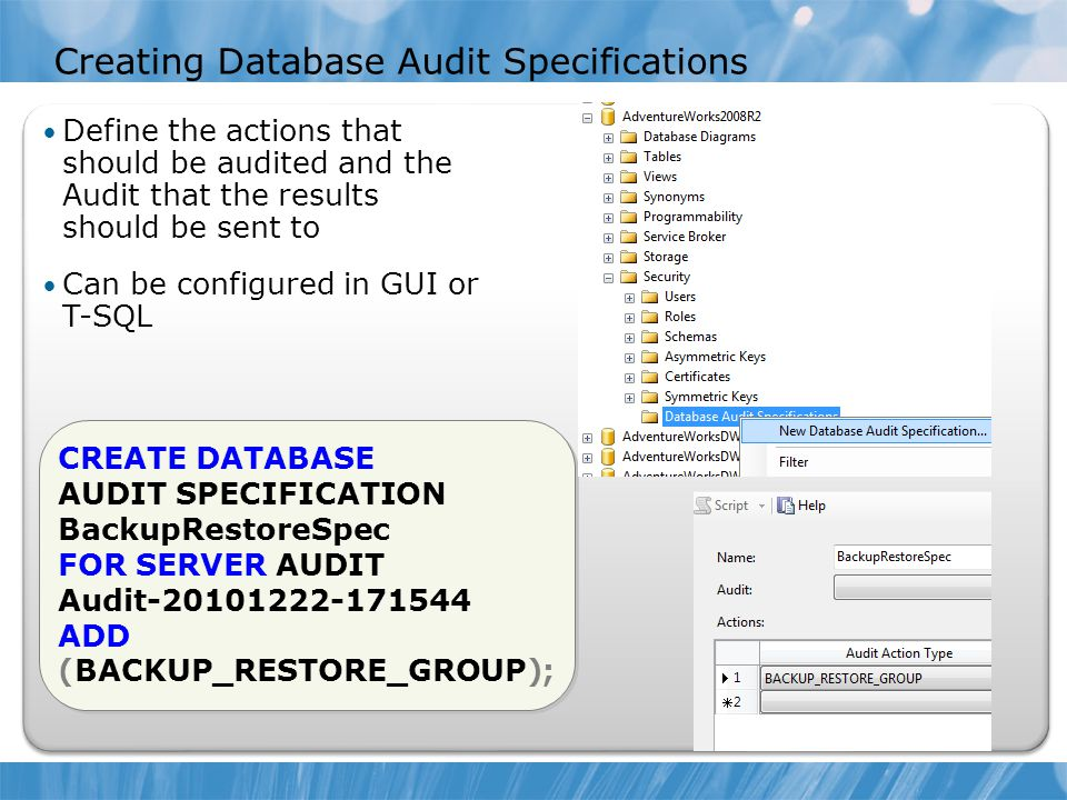 Creating Database Audit Specifications