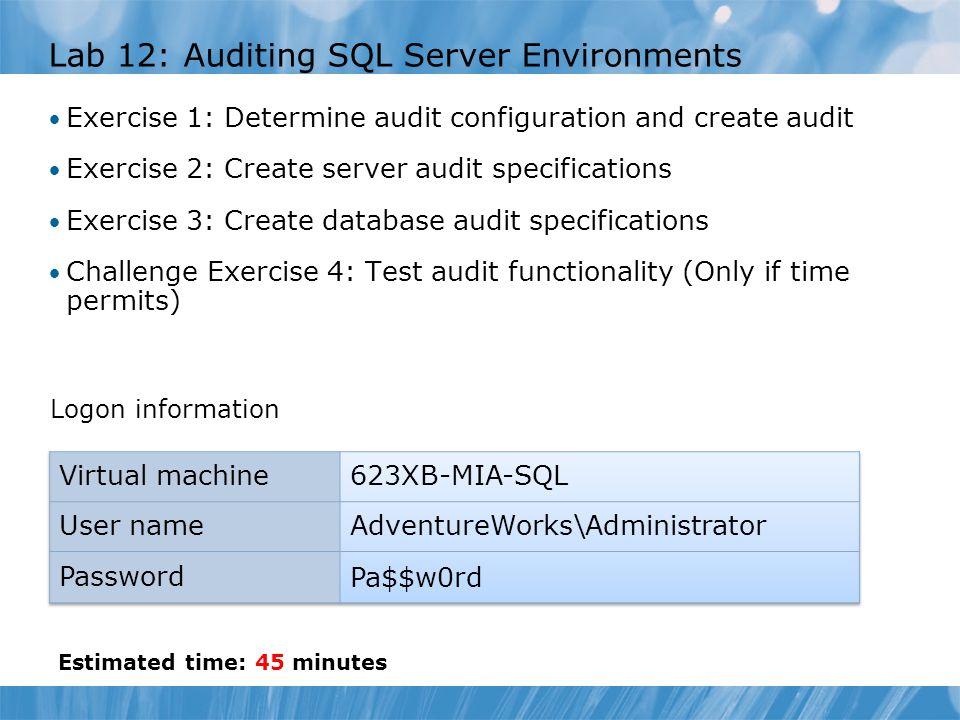 Lab 12: Auditing SQL Server Environments