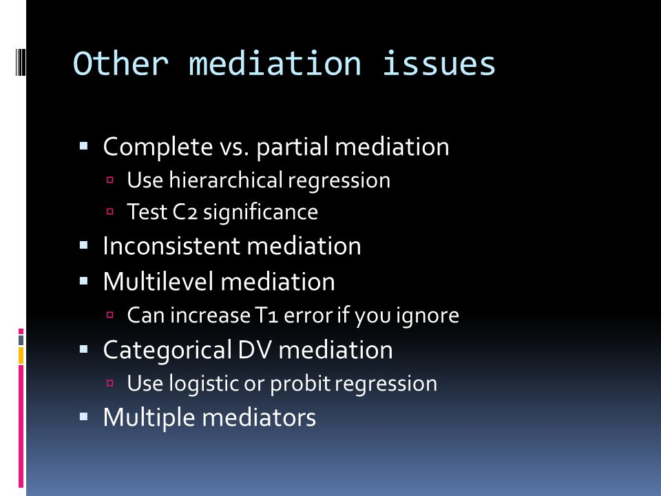 Other mediation issues
