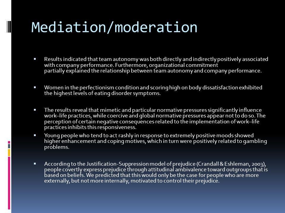 Mediation/moderation