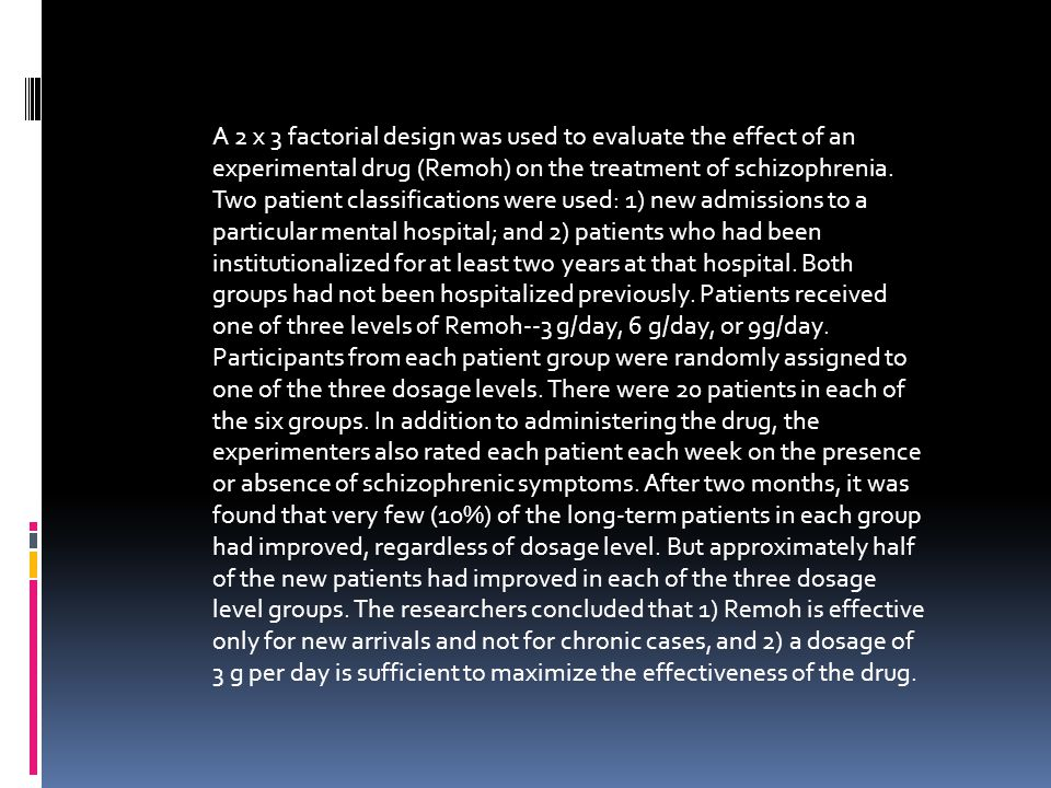 A 2 x 3 factorial design was used to evaluate the effect of an experimental drug (Remoh) on the treatment of schizophrenia. Two patient classifications were used: 1) new admissions to a particular mental hospital; and 2) patients who had been institutionalized for at least two years at that hospital. Both groups had not been hospitalized previously. Patients received one of three levels of Remoh--3 g/day, 6 g/day, or 9g/day. Participants from each patient group were randomly assigned to one of the three dosage levels. There were 20 patients in each of the six groups. In addition to administering the drug, the experimenters also rated each patient each week on the presence or absence of schizophrenic symptoms. After two months, it was found that very few (10%) of the long-term patients in each group had improved, regardless of dosage level. But approximately half of the new patients had improved in each of the three dosage level groups. The researchers concluded that 1) Remoh is effective only for new arrivals and not for chronic cases, and 2) a dosage of 3 g per day is sufficient to maximize the effectiveness of the drug.