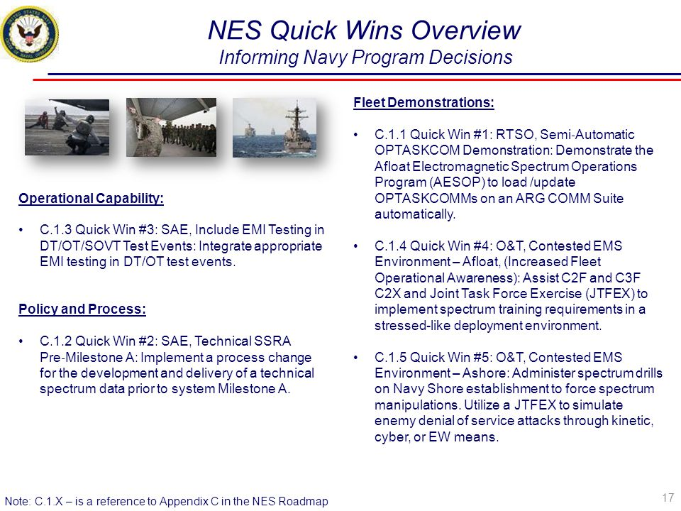 NES Quick Wins Overview Informing Navy Program Decisions