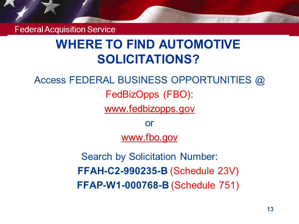 WHERE TO FIND AUTOMOTIVE SOLICITATIONS