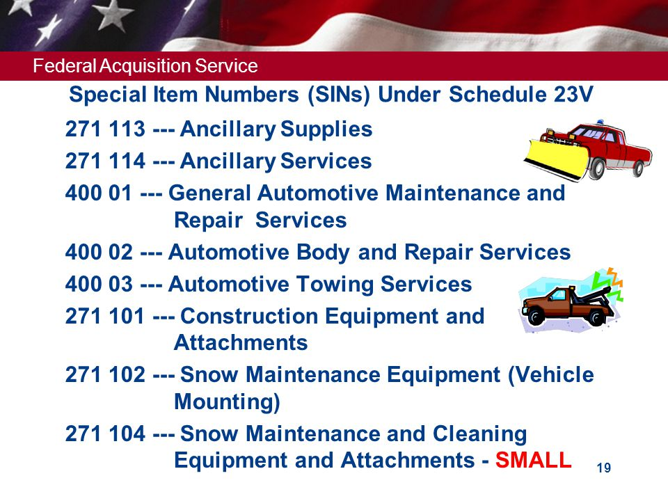 Special Item Numbers (SINs) Under Schedule 23V