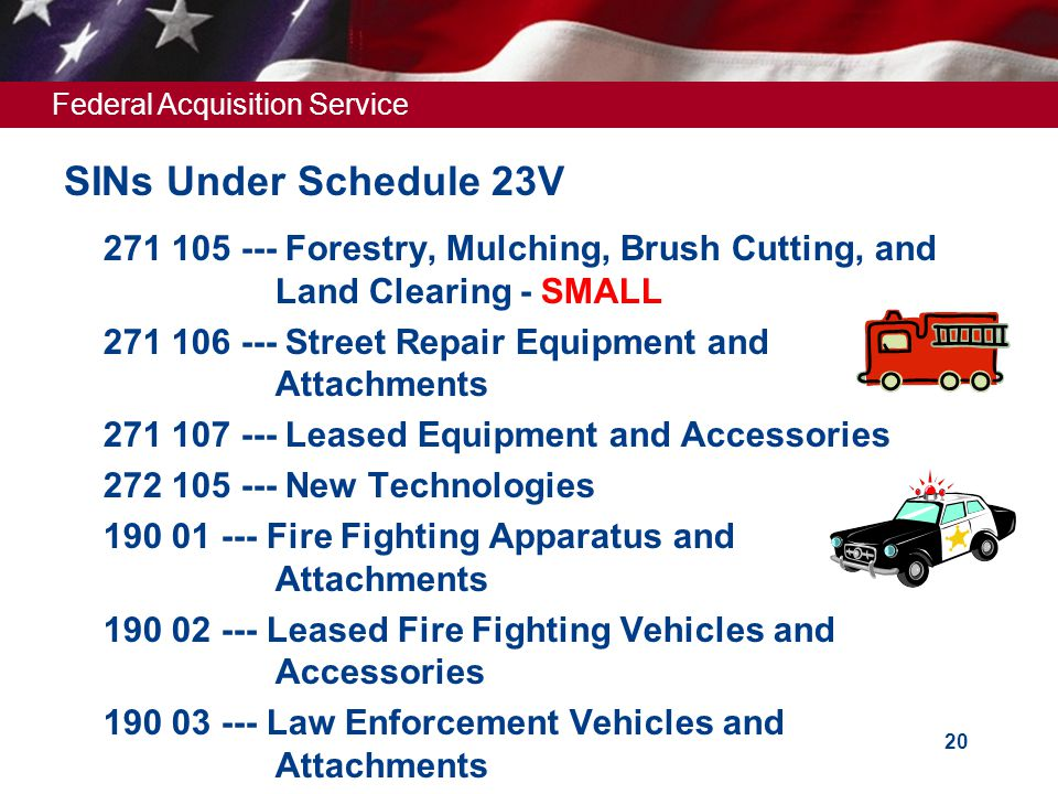 SINs Under Schedule 23V 271 105 --- Forestry, Mulching, Brush Cutting, and Land Clearing - SMALL.