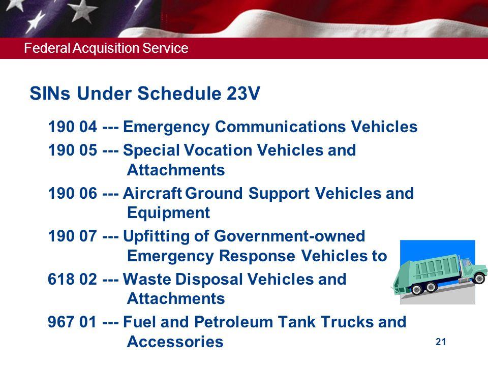 SINs Under Schedule 23V 190 04 --- Emergency Communications Vehicles