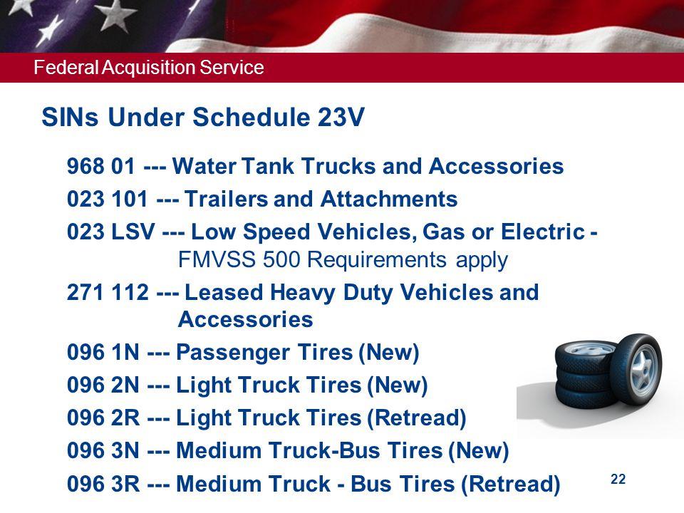 SINs Under Schedule 23V 968 01 --- Water Tank Trucks and Accessories