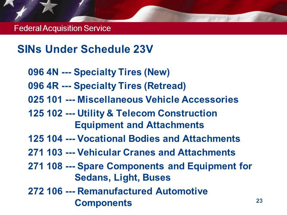 SINs Under Schedule 23V 096 4N --- Specialty Tires (New)