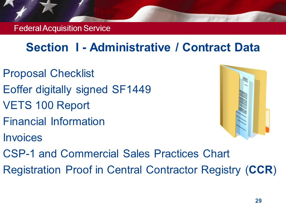 Section I - Administrative / Contract Data