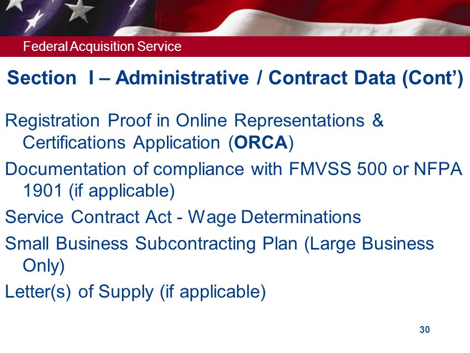 Section I – Administrative / Contract Data (Cont')