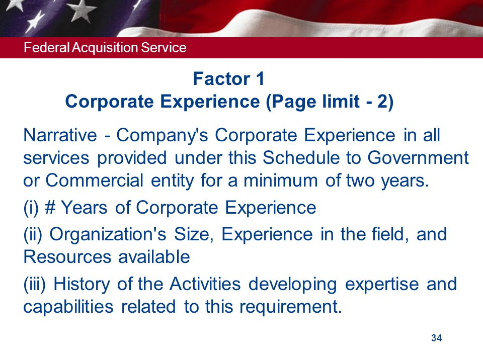 Factor 1 Corporate Experience (Page limit - 2)