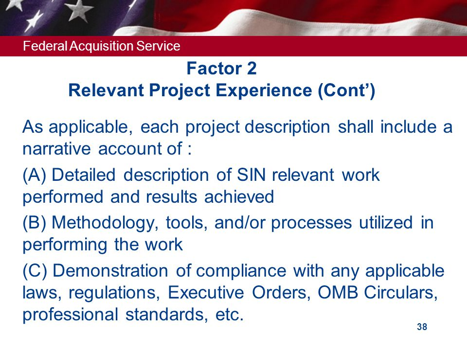 Factor 2 Relevant Project Experience (Cont')