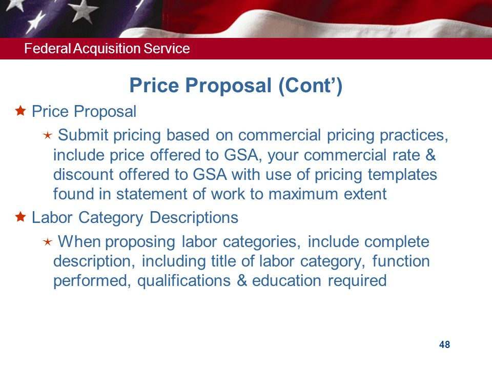 Price Proposal (Cont')