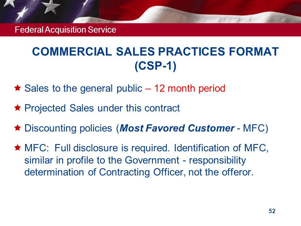 COMMERCIAL SALES PRACTICES FORMAT (CSP-1)