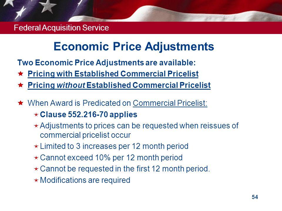 Economic Price Adjustments