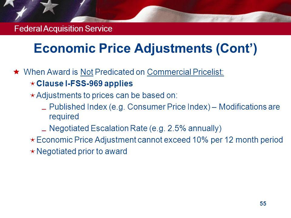 Economic Price Adjustments (Cont')