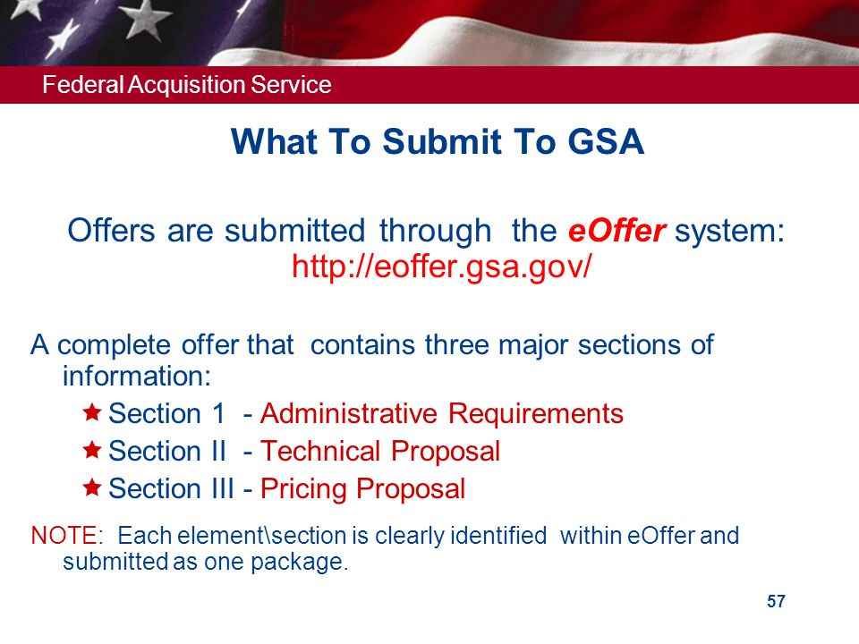 Offers are submitted through the eOffer system: http://eoffer.gsa.gov/