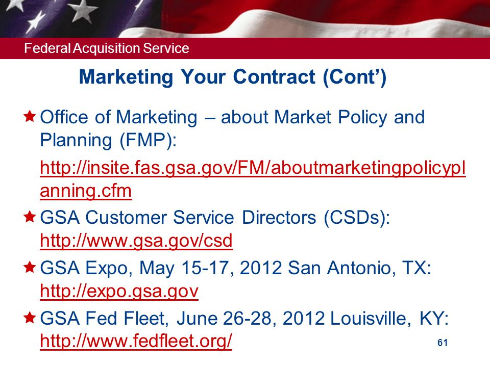 Marketing Your Contract (Cont')