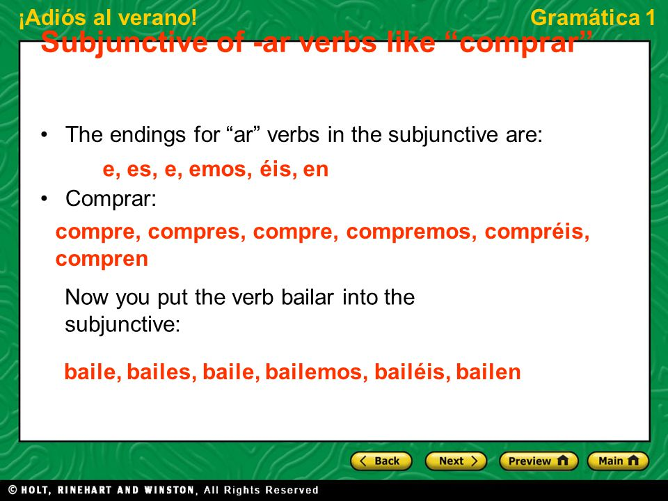 Subjunctive of -ar verbs like comprar
