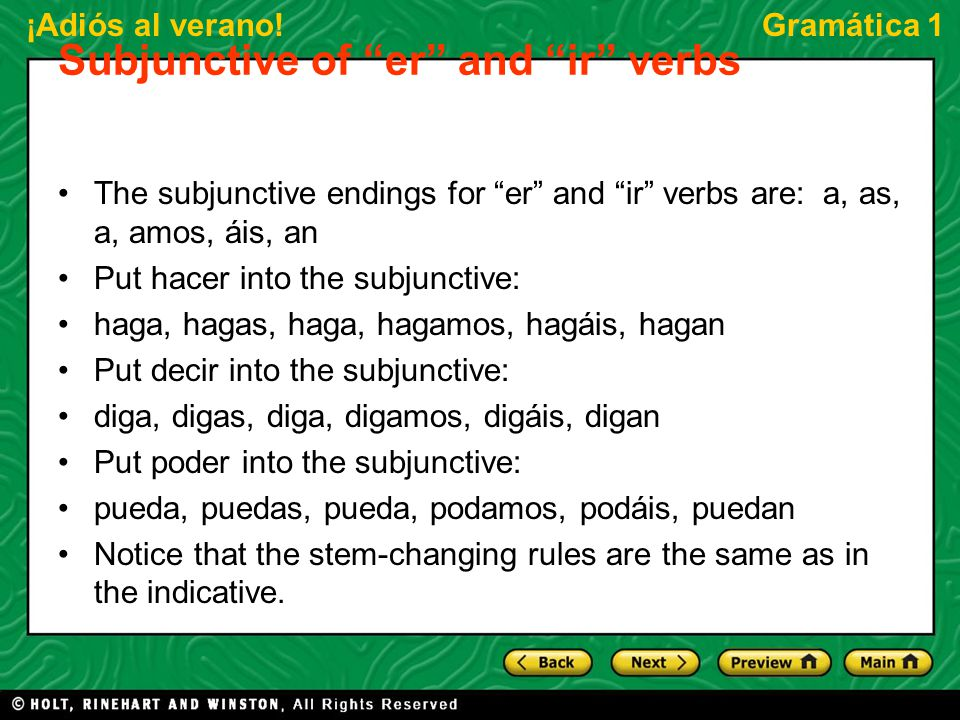 Subjunctive of er and ir verbs